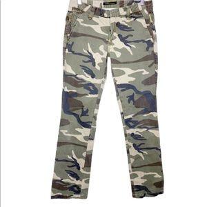 Anoname Camo Print Straight Leg Cargo Style Pants